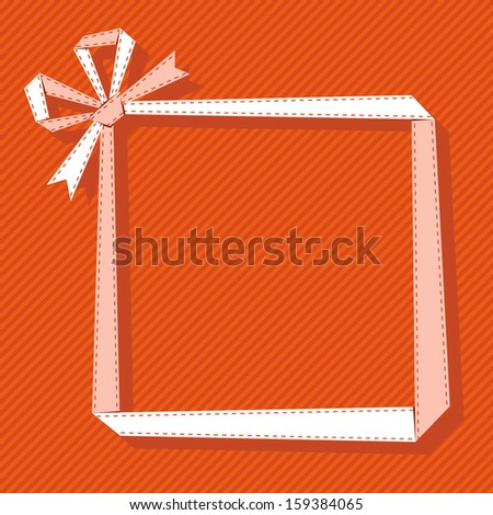 Frame made from light paper ribbon with bow. Origami modern background with text box for presentation. Original greeting, invitation card Valentines Day, Christmas, birthday, wedding for print, web