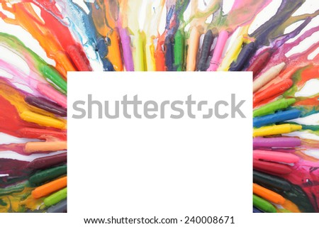 frame made from melted colored pencils                     - stock photo