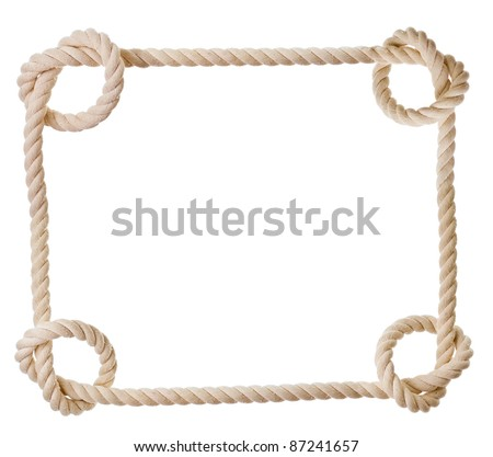 frame made from rope isolated on white - stock photo