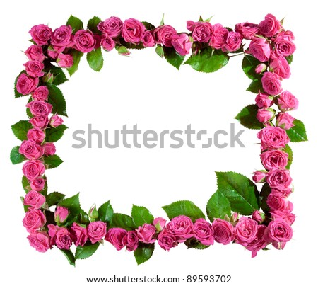 Frame made of beautiful pink roses and blossoms, isolated on white. Great as a greetings card, for a love message, for a wedding and so on. - stock photo