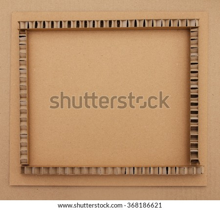 Frame made of brown corrugated cardboard