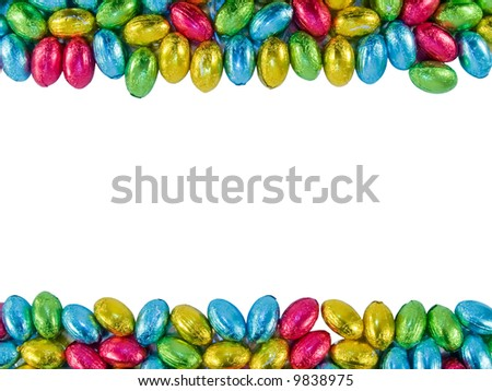 Frame made of Chocolate eggs. Traditional Easter sweet. - stock photo