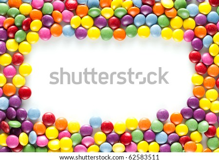Frame made of colorful candiesframe made  of Colorful happy birthday candies - stock photo