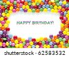 frame made  of Colorful happy birthday candies - stock photo