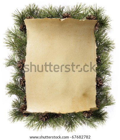 frame made of fir branches - stock photo