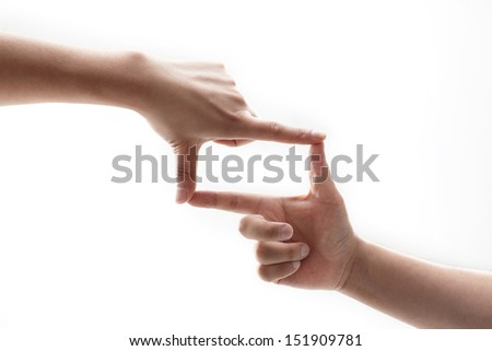 frame made of hands on white background - stock photo