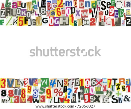 Frame, made of newspaper letters, numbers and punctuation marks, isolated on white - stock photo