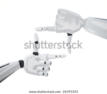 Frame made of robotic hands isolated on white background. Including clipping path.