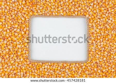 Frame made of rope with corn grains and a white background, with space for your text