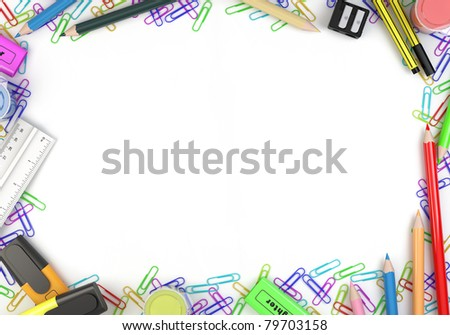 Frame made of stationery objects with white empty copy space for your text or design - clipping path included - stock photo