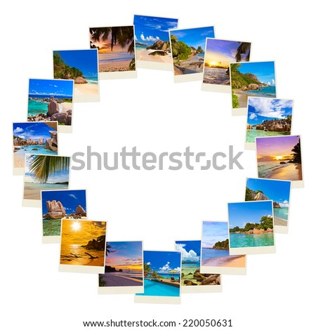 Frame made of summer beach maldives images - nature and travel background - stock photo