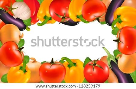 Frame made of vegetables. Raster version of vector - stock photo