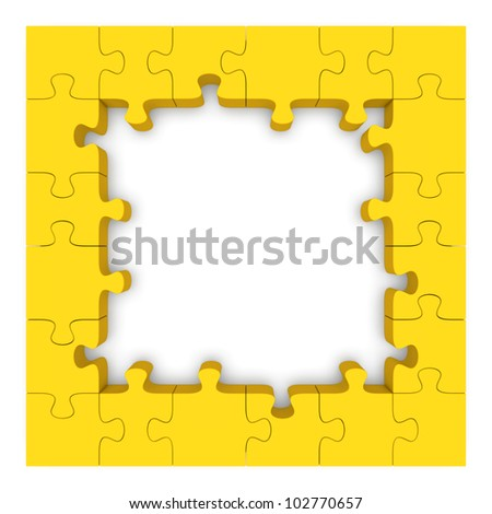 frame made up of pieces of yellow jigsaw puzzle 3d rendered image