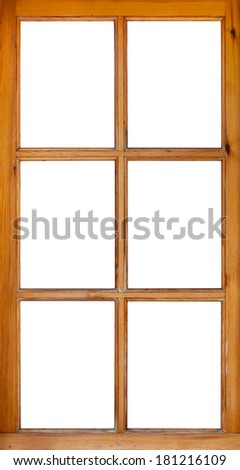 frame of a wooden window isolated on white background - stock photo