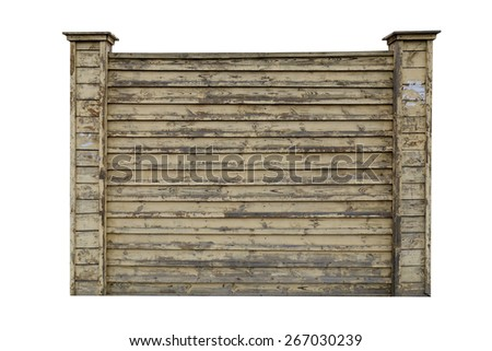 Frame of an old wooden fence isolated on white - stock photo