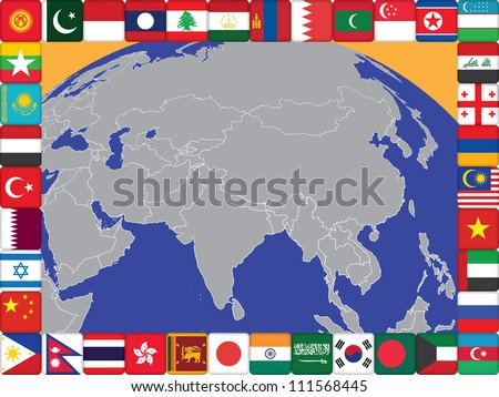 frame of Asian countries flags around the globe illustration - stock photo