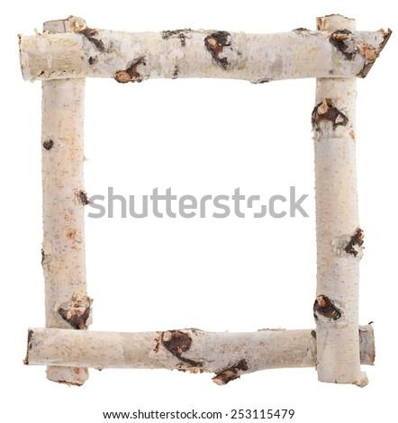 Frame of birch logs - stock photo