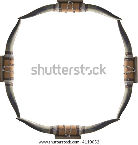 frame of bull cow horns on a white background frame your cowboy