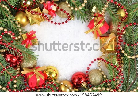 Frame of  christmas decorations