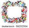 frame of clipped colorful letters - ransom note style - stock photo
