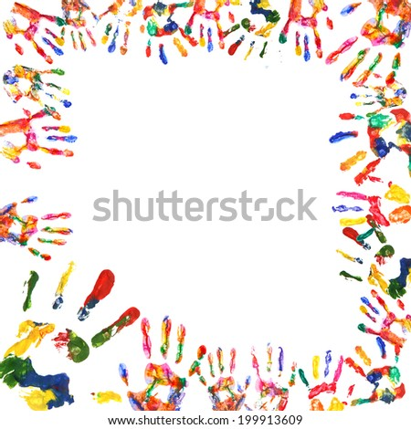 Frame of color hands print isolated on white - stock photo