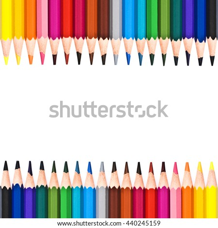 Frame of colorful wooden pencils isolated on white background