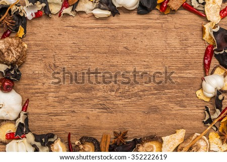 Frame of dishes prepared with medicinal herbs - stock photo