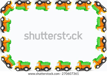 Frame of Earth moving toy. Kids Frame - stock photo
