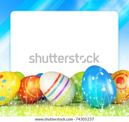 Frame of Easter eggs and blue sky - stock photo