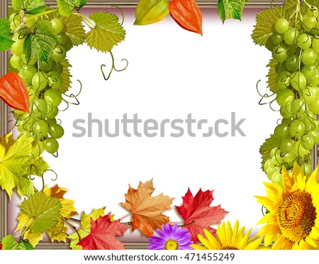 Frame of flowers and autumn foliage. Indian summer