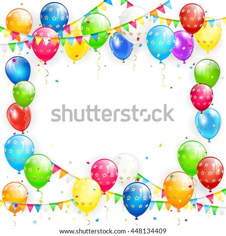 Frame of flying colorful balloons, multicolored pennants and confetti on white background, illustration. - stock photo