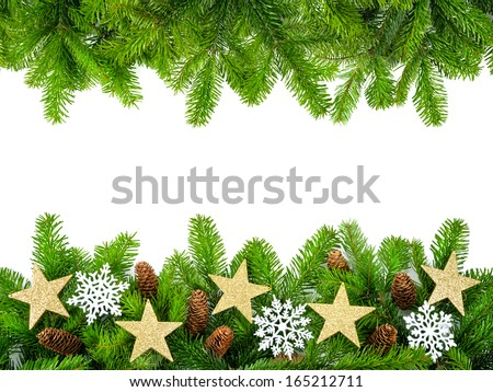 Frame of fresh fir twigs with stars, snow and cones, studio isolated on white background - stock photo