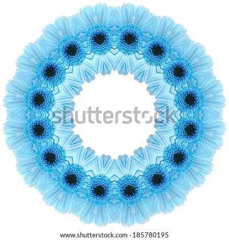 Frame of Gerbera flower heads with water drop on white background pattern - stock photo