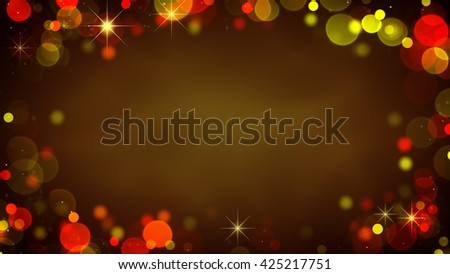 Frame of glowing blurry golden lights and blinking stars. Holiday abstract background - stock photo