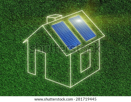 Frame of house illustration with solar panels on grass - stock photo
