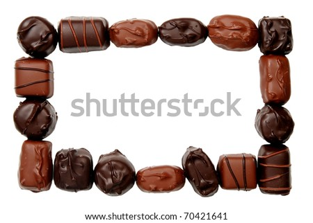 frame of milk and dark chocolates, isolated on white
