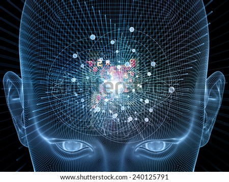 Frame of Mind series. Abstract design made of human face wire-frame and fractal elements on the subject of mind, reason, thought, mental powers and mystic consciousness - stock photo