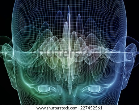 Frame of Mind series. Backdrop design of human face wire-frame and wave elements to provide supporting composition for works on mind, reason, thought, mental powers and mystic consciousness - stock photo