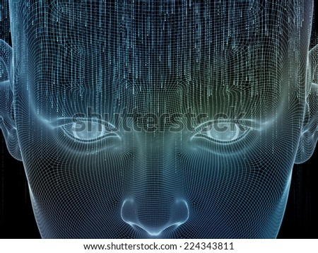 Frame of Mind series. Composition of human face wire-frame and fractal elements suitable as a backdrop for the projects on mind, reason, thought, mental powers and mystic consciousness - stock photo