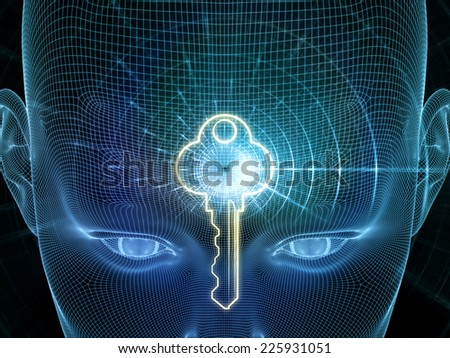 Frame of Mind series. Composition of human face wire-frame fractal and design elements suitable as a backdrop for the projects on mind, reason, thought, mental powers and mystic consciousness - stock photo