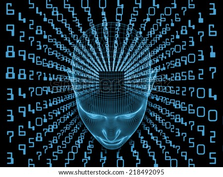 Frame of Mind series. Interplay of human head wire-frame and fractal elements on the subject of brain, mind, reason, intuition, inner energy and mystic consciousness - stock photo