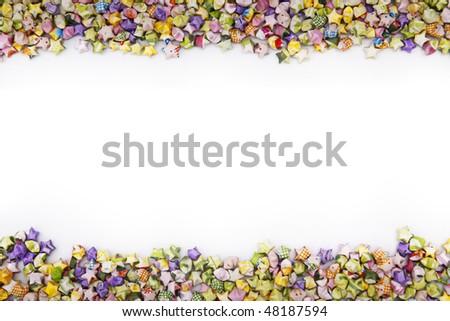 frame of mini paper stars - stock photo