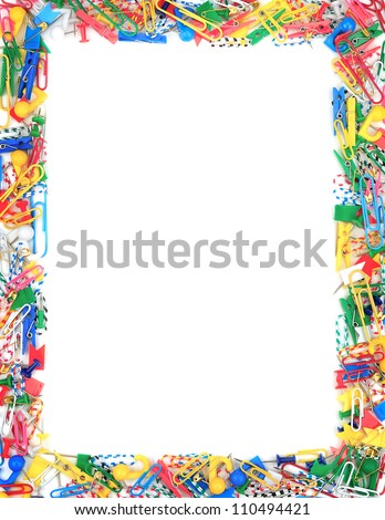Frame of office supplies isolated on a white background - stock photo
