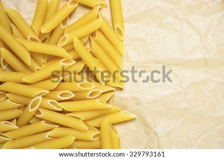 frame of raw italian pasta