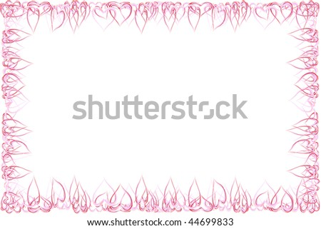 Frame of red hearts, ideal for valentines card or related themes. - stock photo