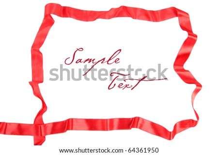 frame of red ribbon - stock photo
