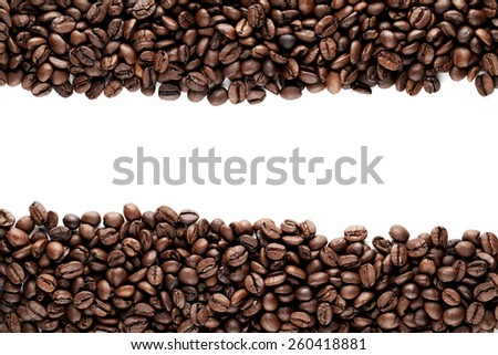 Frame of roasted coffee beans isolated on white background - stock photo