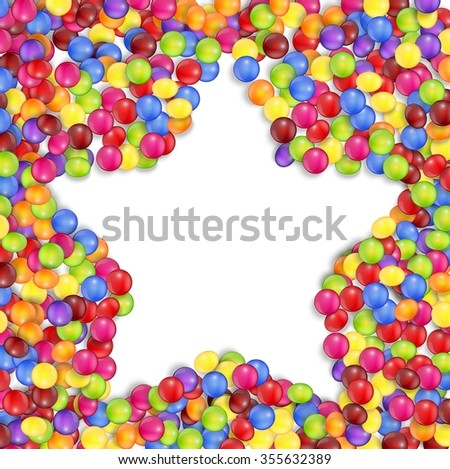 Frame of star colored candies - stock photo
