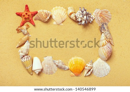 Frame of starfishes and seashells on the sand
