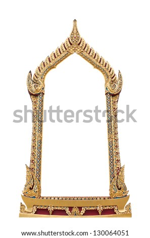Frame of Thai ancient art, isolated on white background. - stock photo